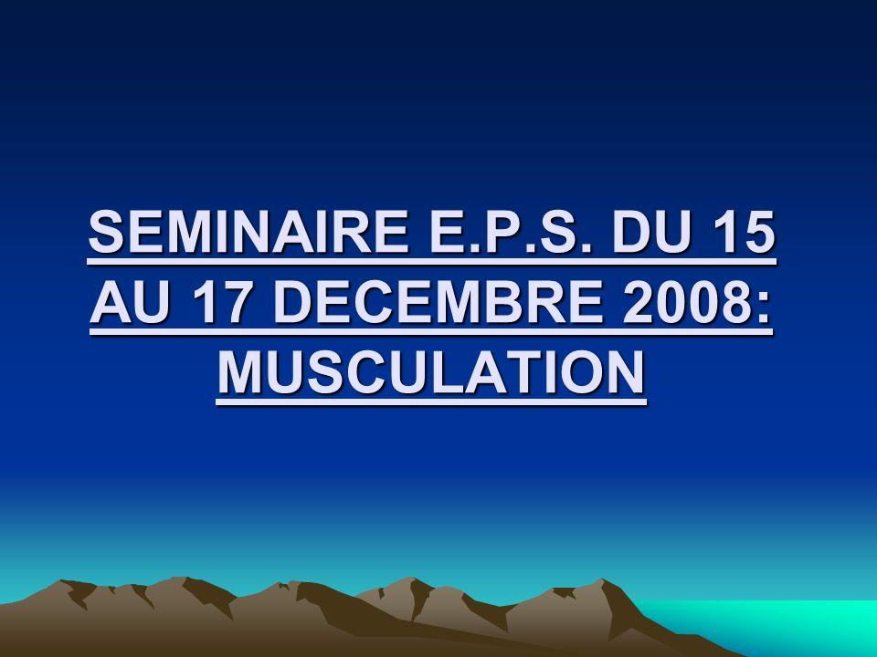 SEMINAIRE E.P.S. DU 15 AU 17 DECEMBRE 2008: MUSCULATION