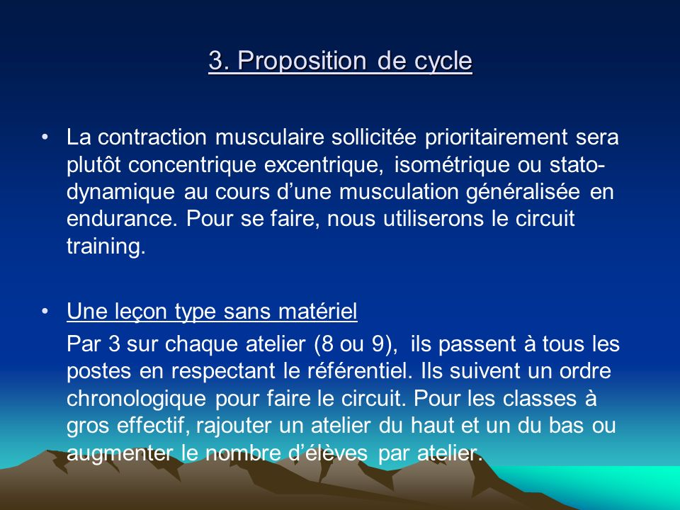 3. Proposition de cycle