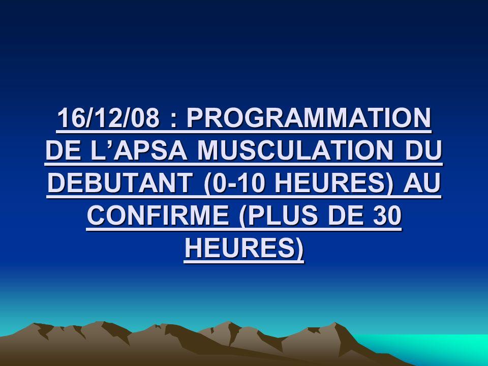 16/12/08 : PROGRAMMATION DE L'APSA MUSCULATION DU DEBUTANT (0-10 HEURES) AU CONFIRME (PLUS DE 30 HEURES)