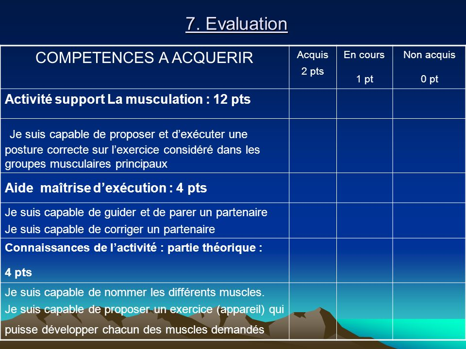COMPETENCES A ACQUERIR