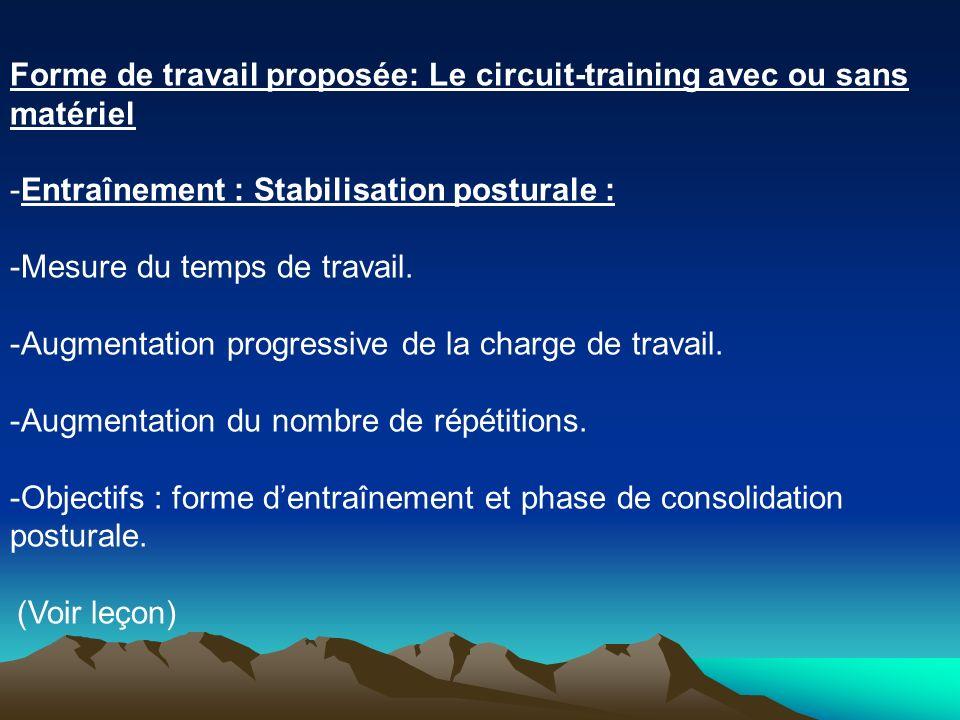 Forme de travail proposée: Le circuit-training avec ou sans matériel