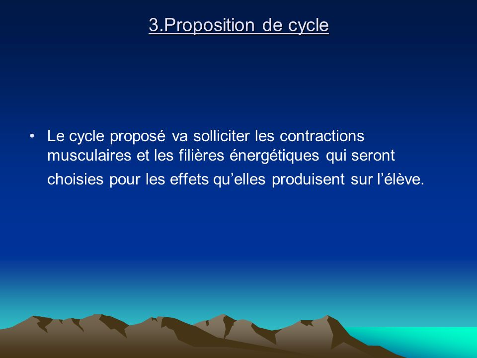 3.Proposition de cycle
