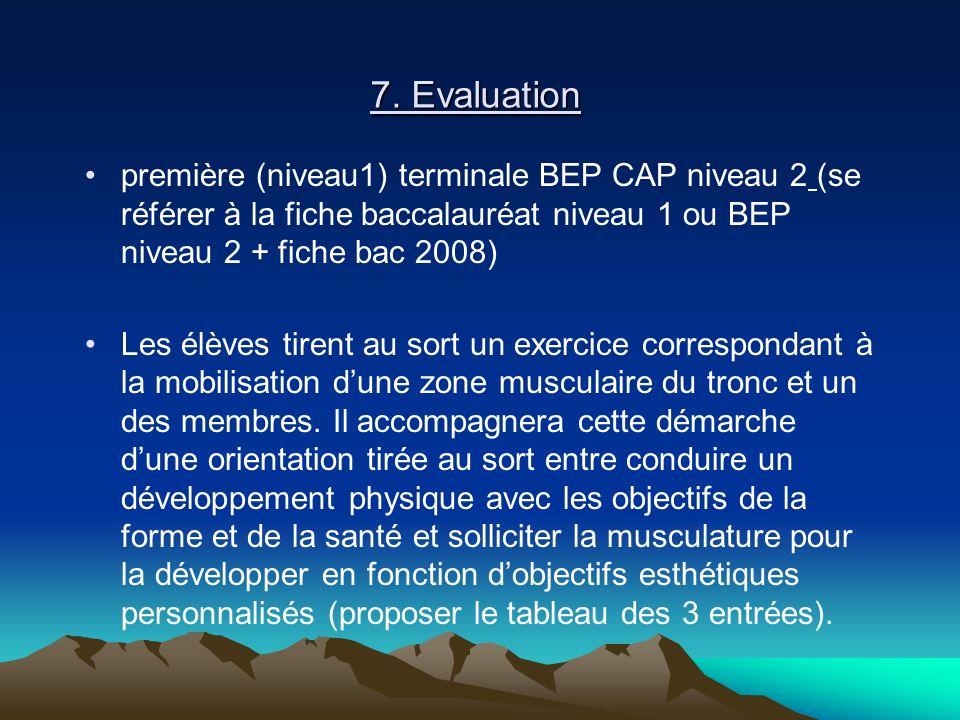 7. Evaluation première (niveau1) terminale BEP CAP niveau 2 (se référer à la fiche baccalauréat niveau 1 ou BEP niveau 2 + fiche bac 2008)