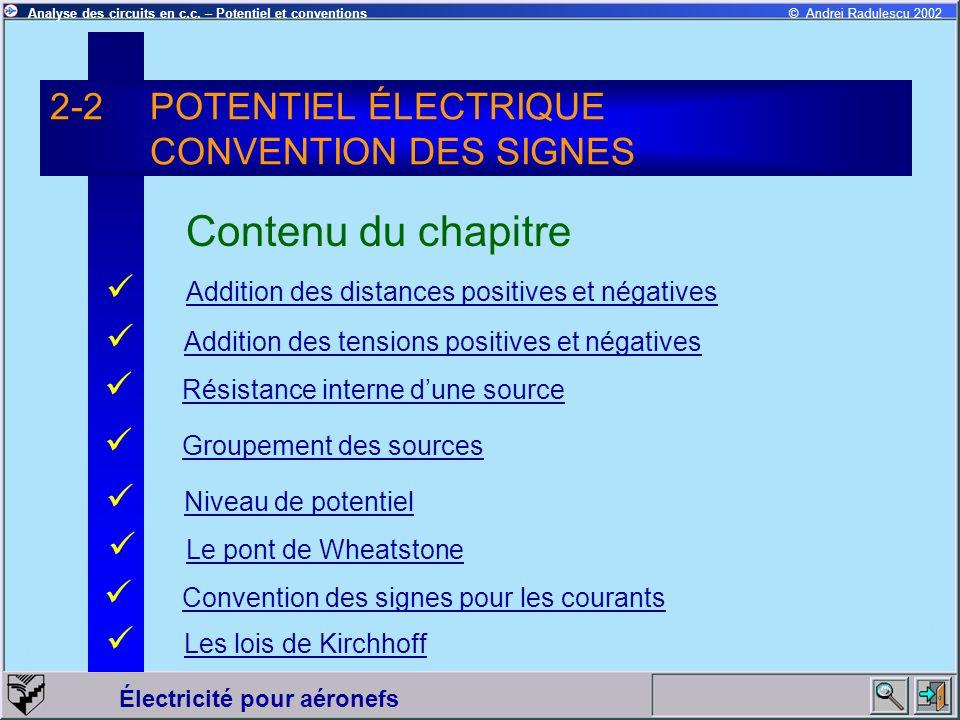 2-2 POTENTIEL ÉLECTRIQUE CONVENTION DES SIGNES