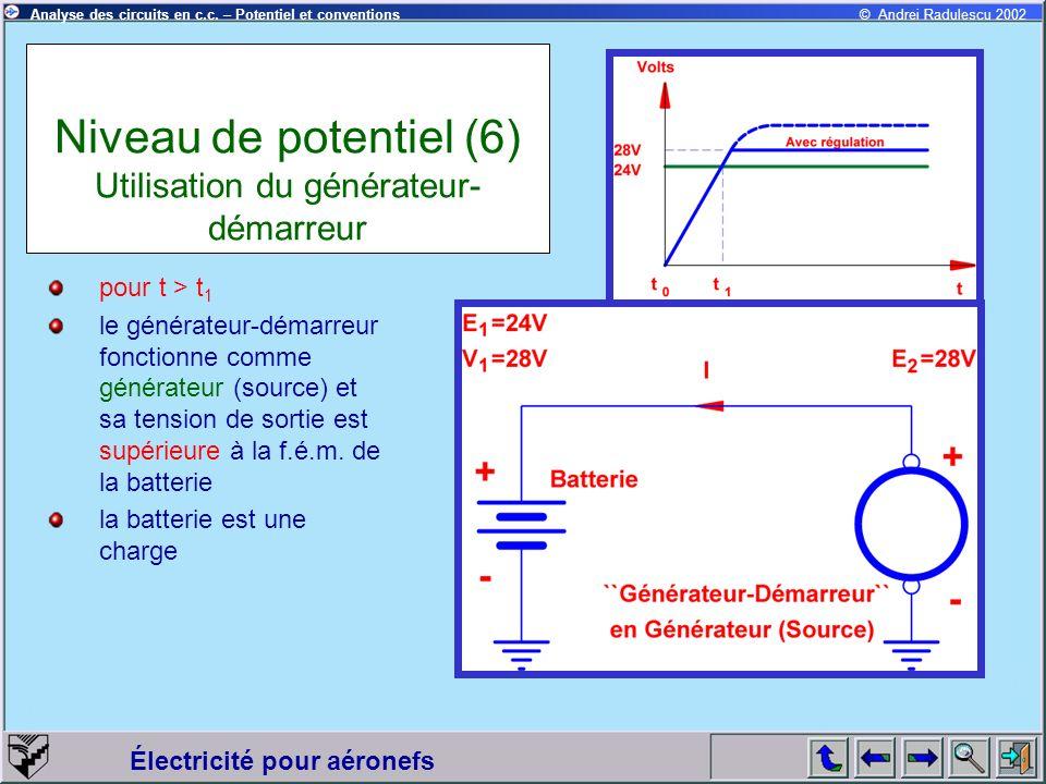 Niveau de potentiel (6) Utilisation du générateur-démarreur