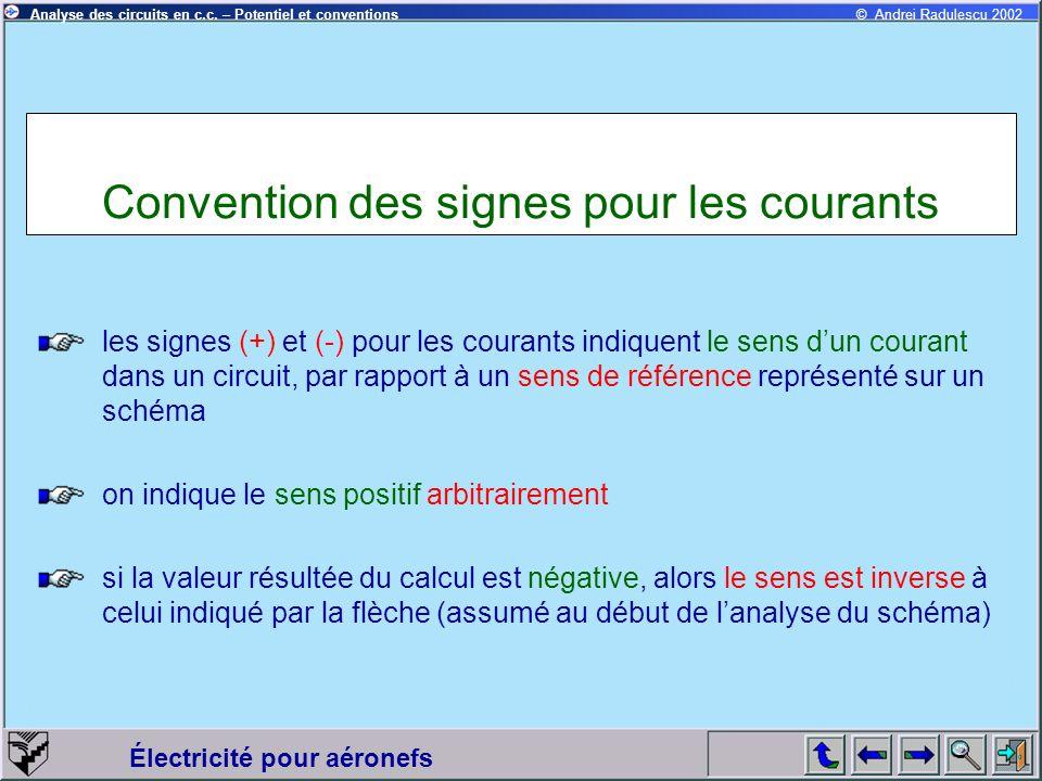 Convention des signes pour les courants