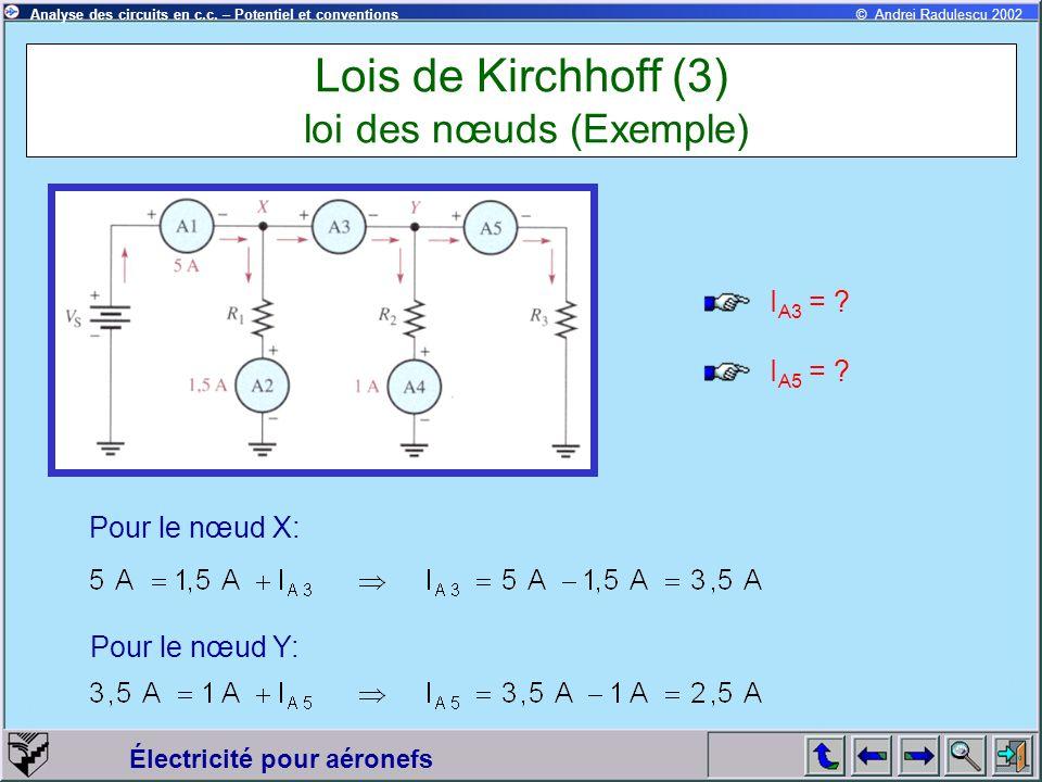 Lois de Kirchhoff (3) loi des nœuds (Exemple)
