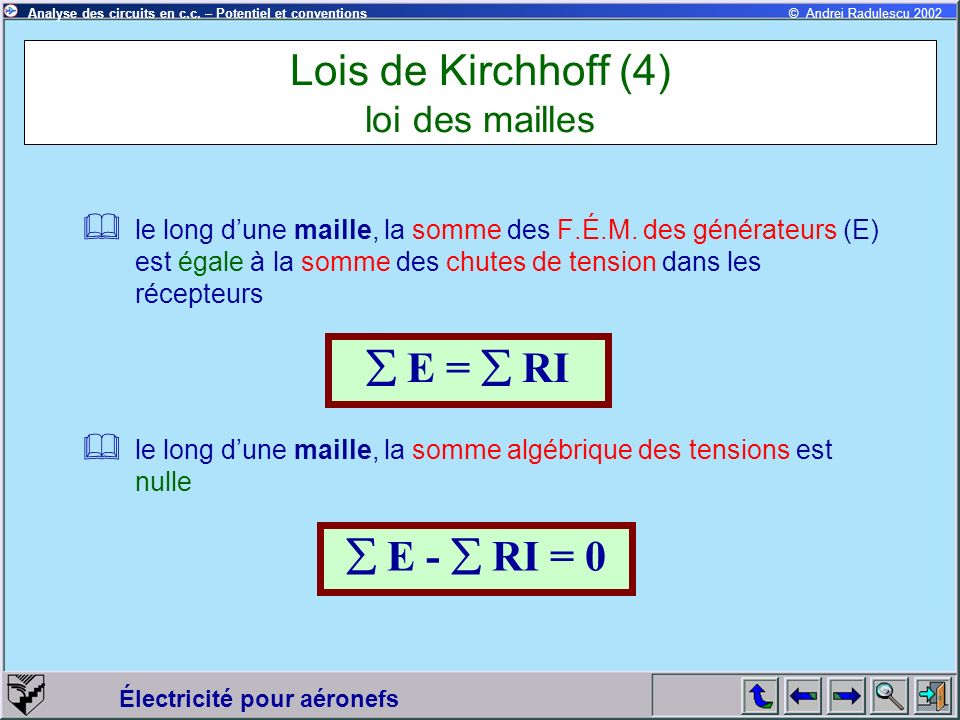 Lois de Kirchhoff (4) loi des mailles