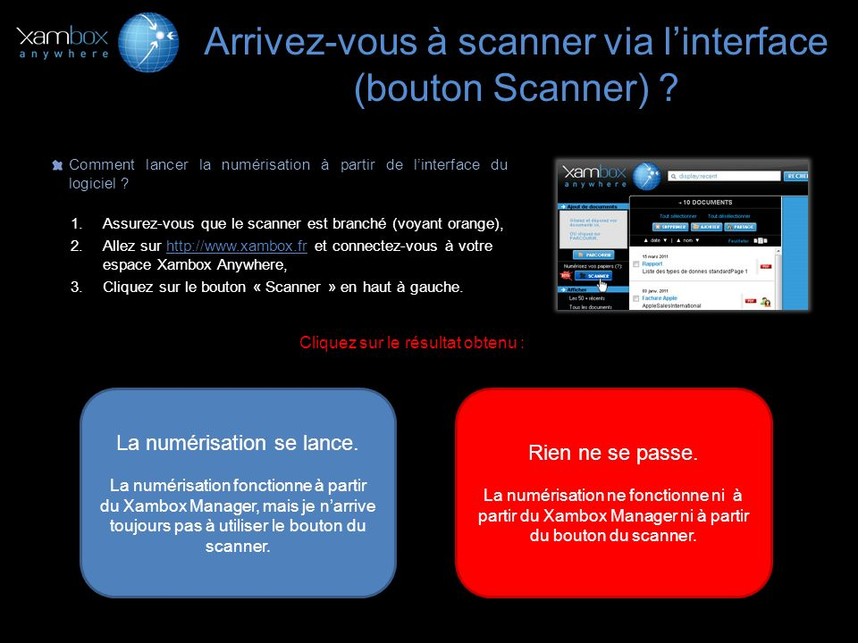 Arrivez-vous à scanner via l'interface (bouton Scanner)