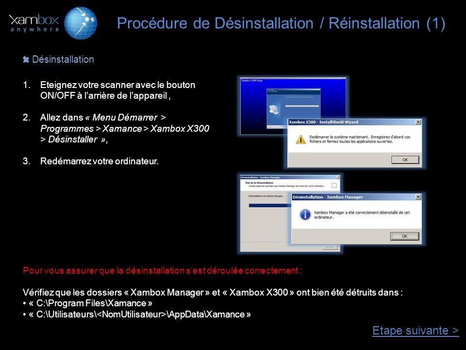 Procédure de Désinstallation / Réinstallation (1)