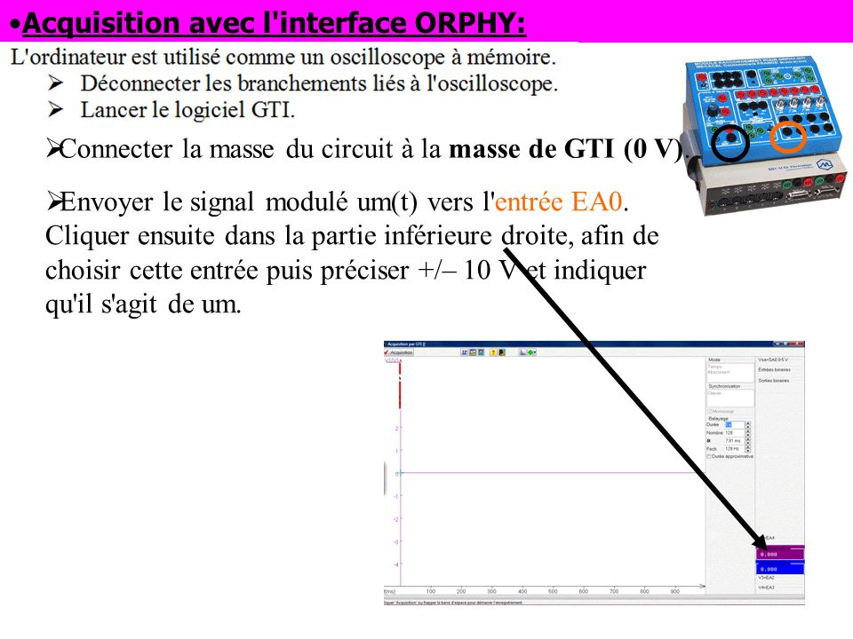Acquisition avec l interface ORPHY: