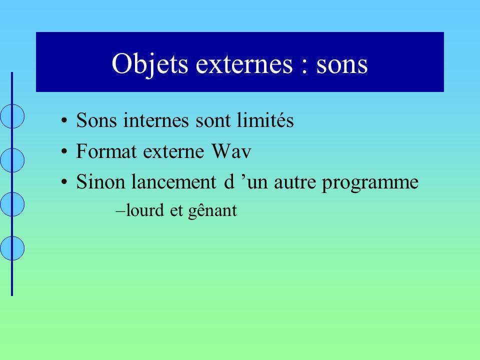 Objets externes : sons Sons internes sont limités Format externe Wav