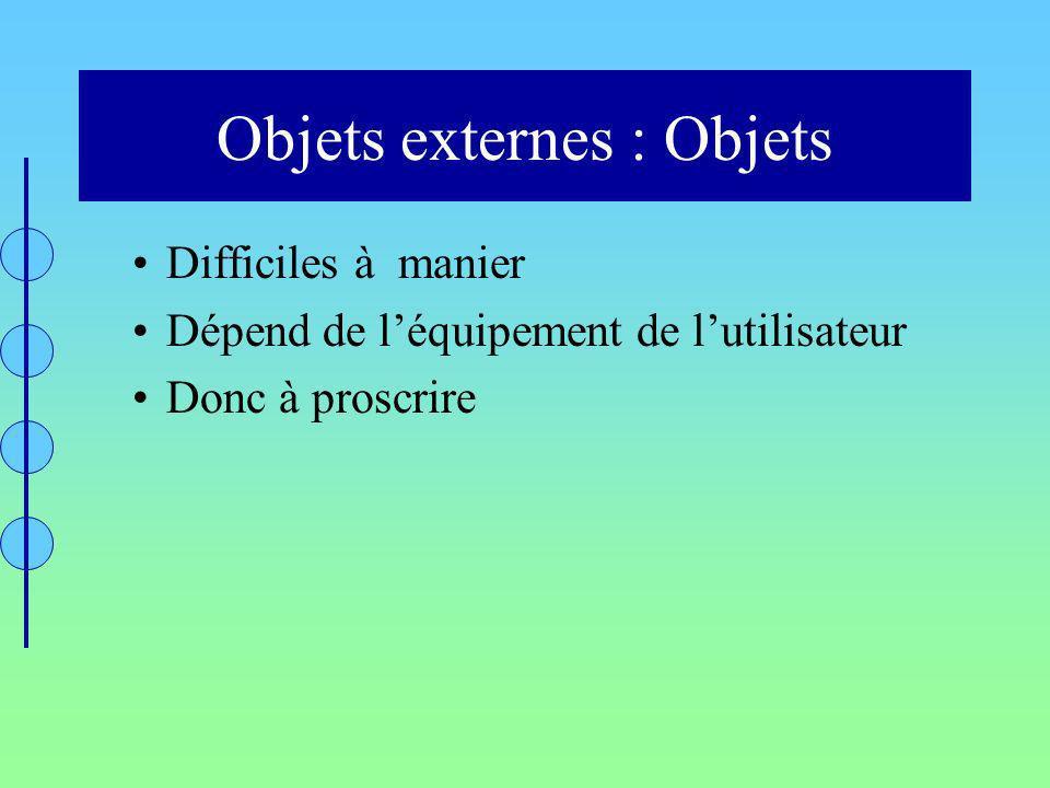 Objets externes : Objets