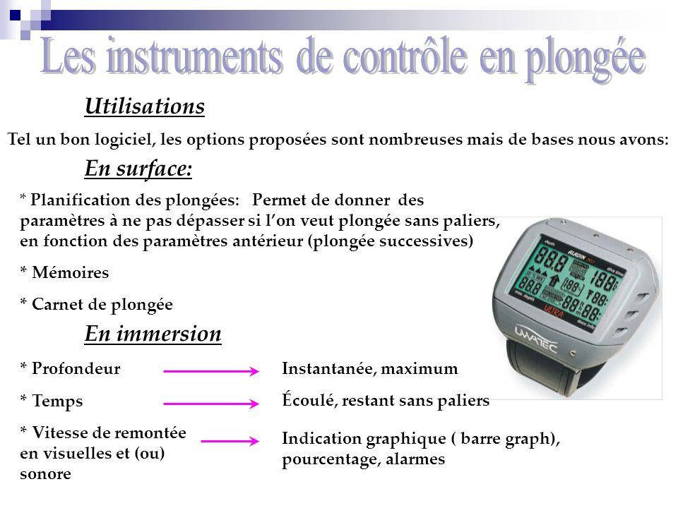 Les instruments de contrôle en plongée