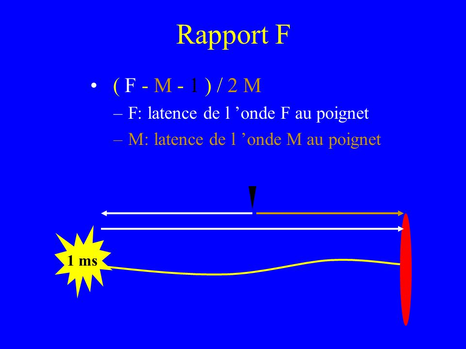 Rapport F ( F - M - 1 ) / 2 M F: latence de l 'onde F au poignet