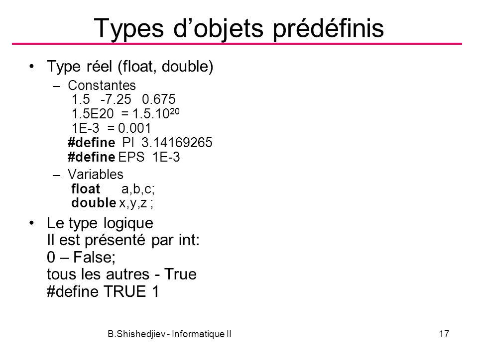 Types d'objets prédéfinis