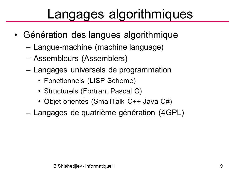 Langages algorithmiques