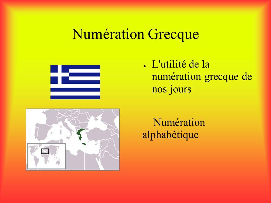 Numération Grecque L utilité de la numération grecque de nos jours