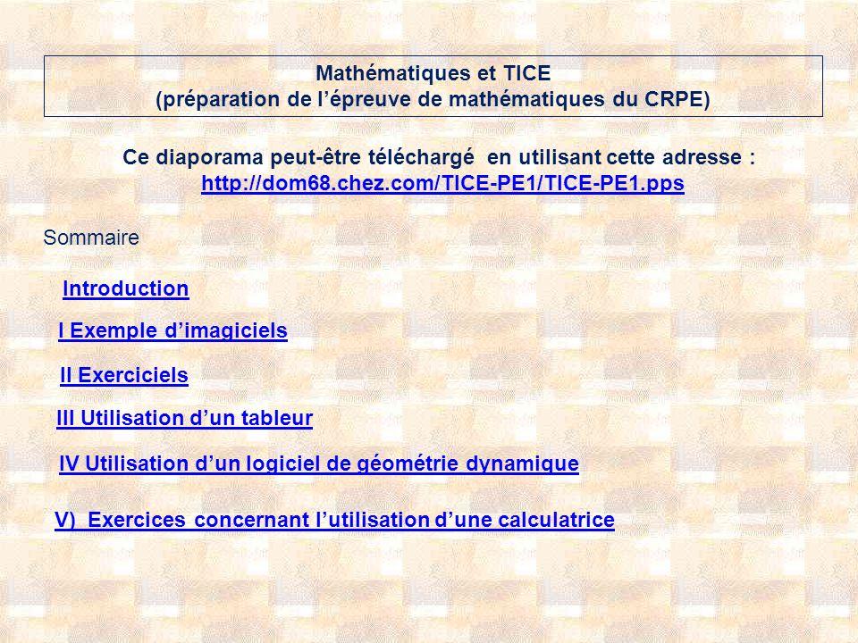 Mathématiques et TICE (préparation de l'épreuve de mathématiques du CRPE)