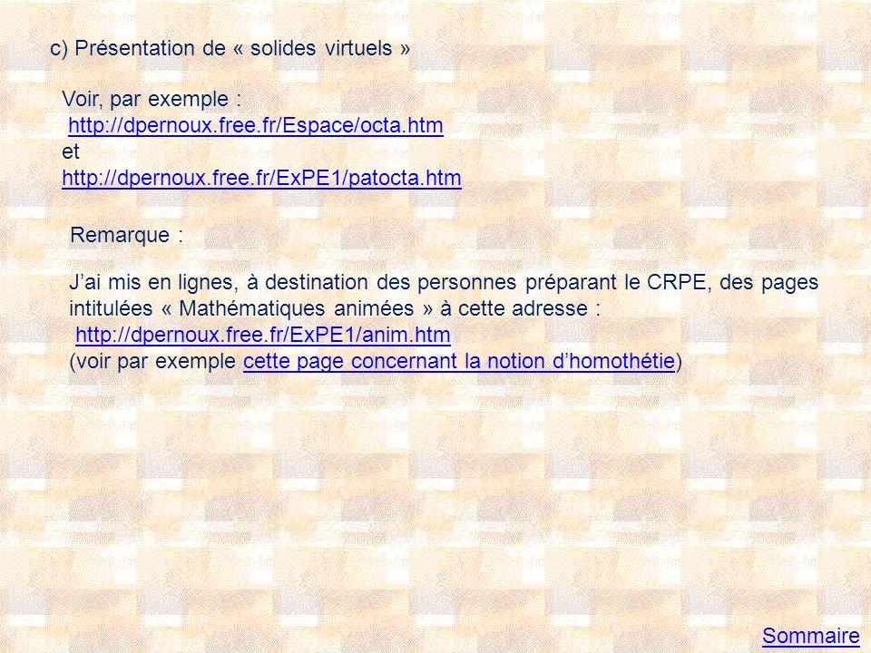 c) Présentation de « solides virtuels »