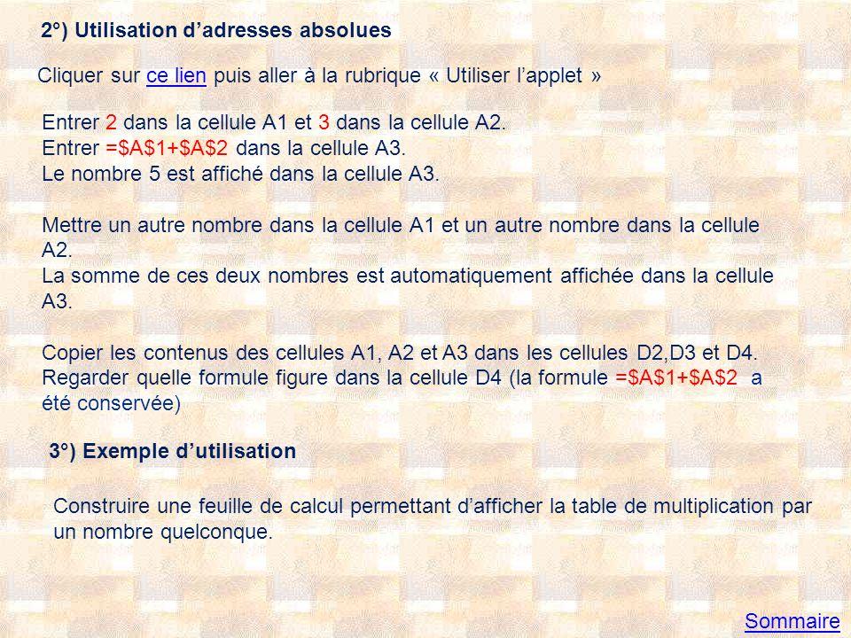 2°) Utilisation d'adresses absolues