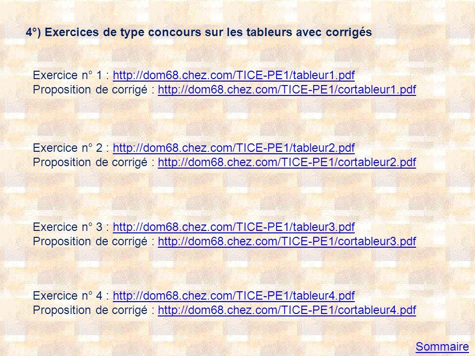 4°) Exercices de type concours sur les tableurs avec corrigés