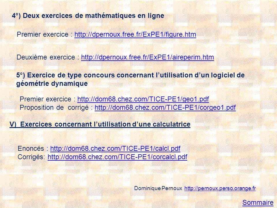 4°) Deux exercices de mathématiques en ligne