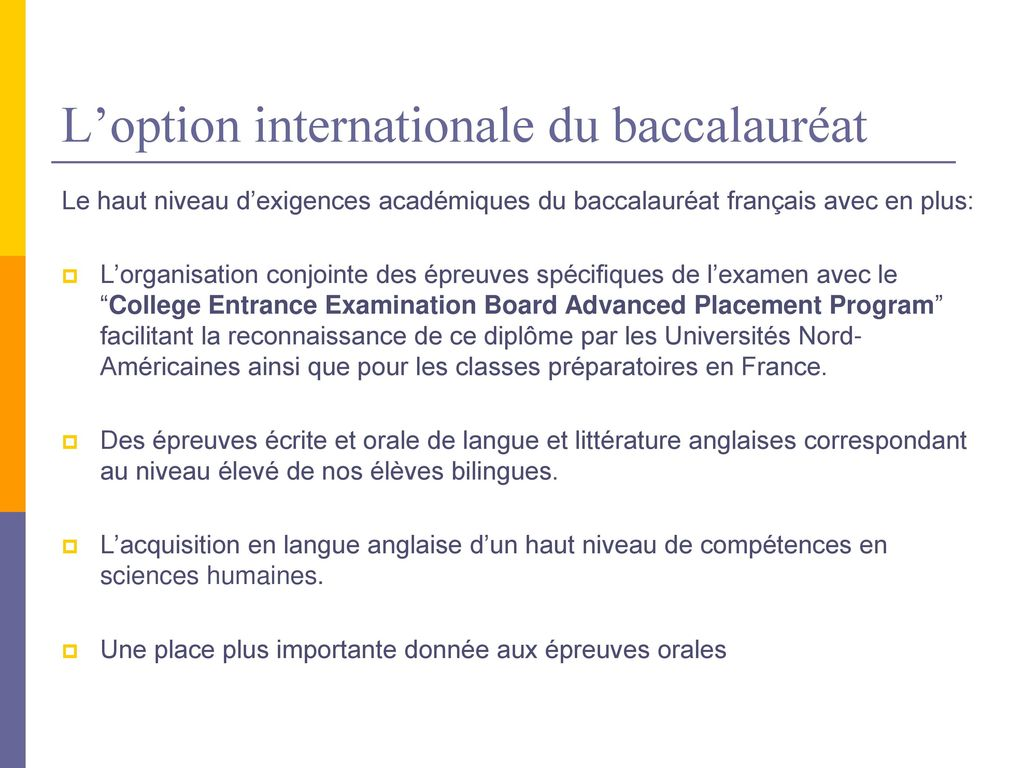L'option internationale du baccalauréat