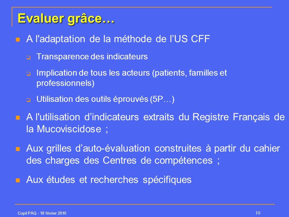 Evaluer grâce… A l adaptation de la méthode de l'US CFF