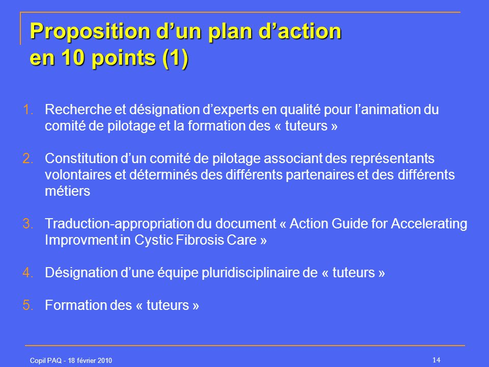 Proposition d'un plan d'action en 10 points (1)
