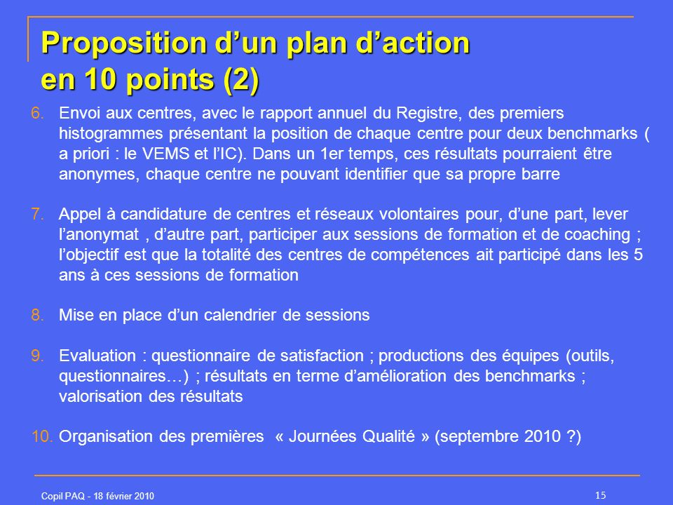 Proposition d'un plan d'action en 10 points (2)