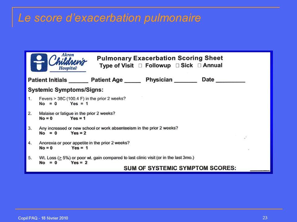 Le score d'exacerbation pulmonaire