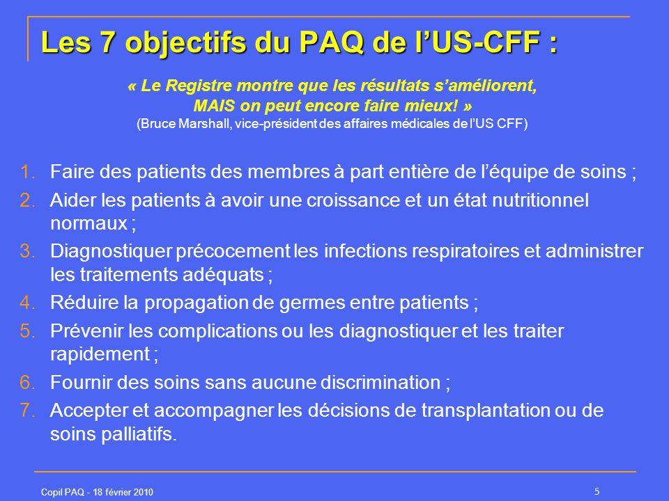 Les 7 objectifs du PAQ de l'US-CFF :