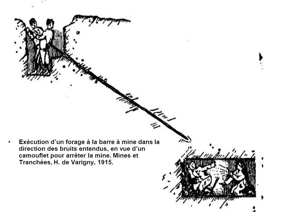 Exécution d'un forage à la barre à mine dans la direction des bruits entendus, en vue d'un camouflet pour arrêter la mine.