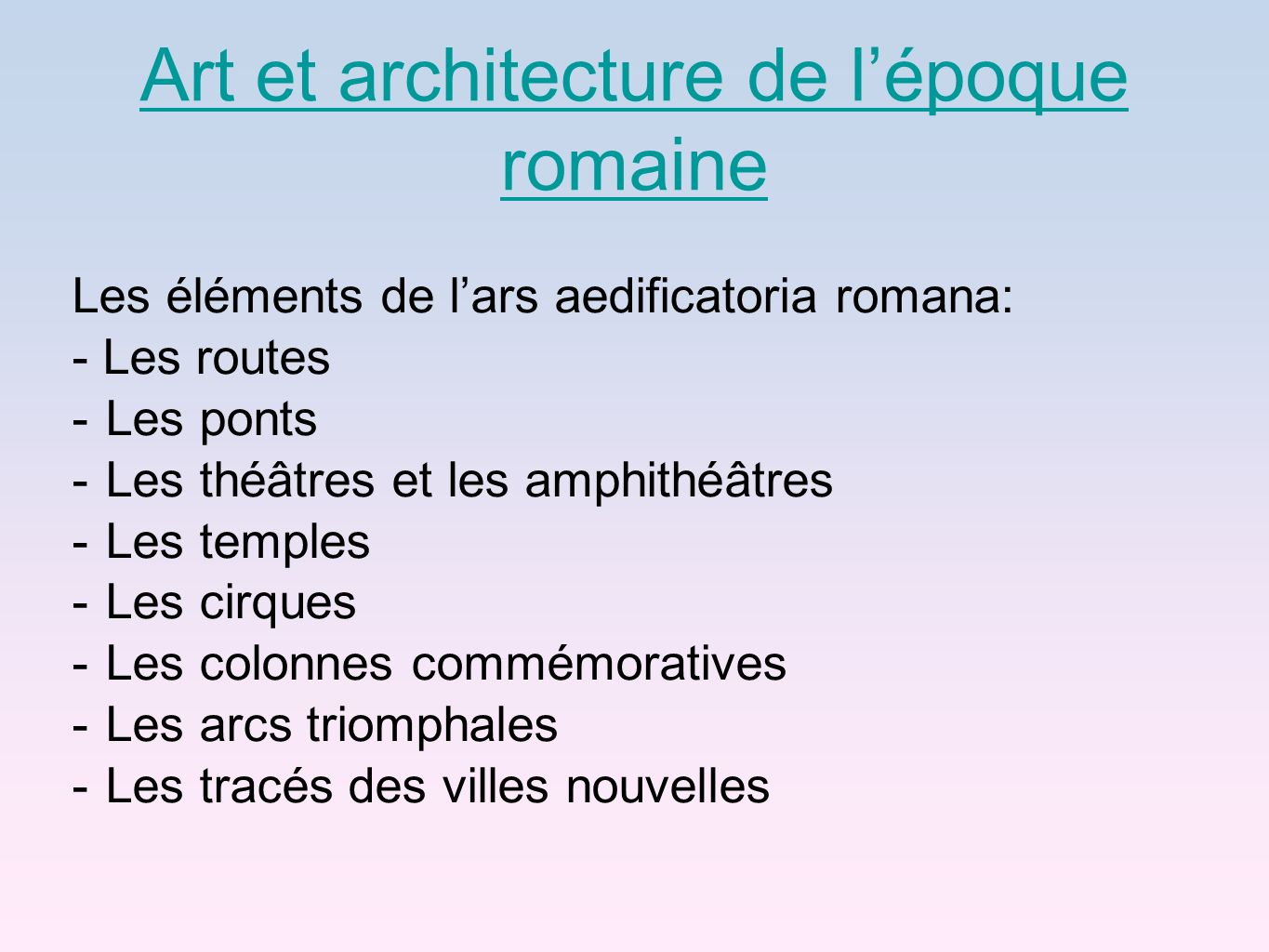 Art et architecture de l'époque romaine