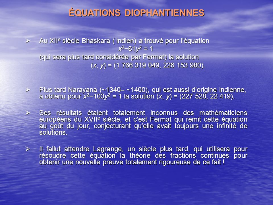 ÉQUATIONS DIOPHANTIENNES