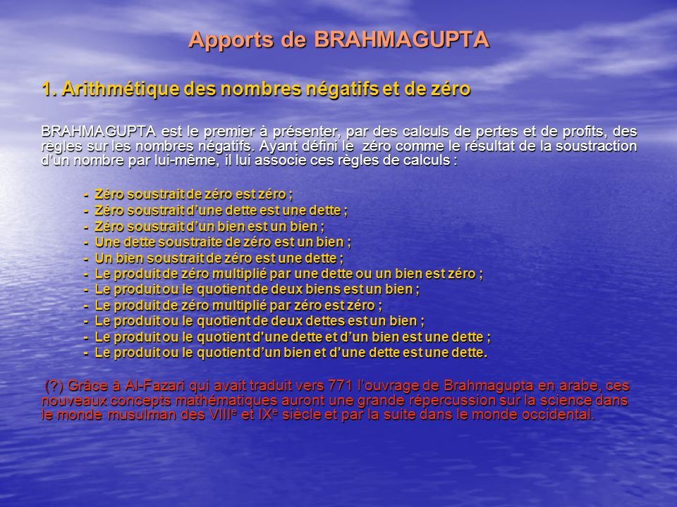 Apports de BRAHMAGUPTA