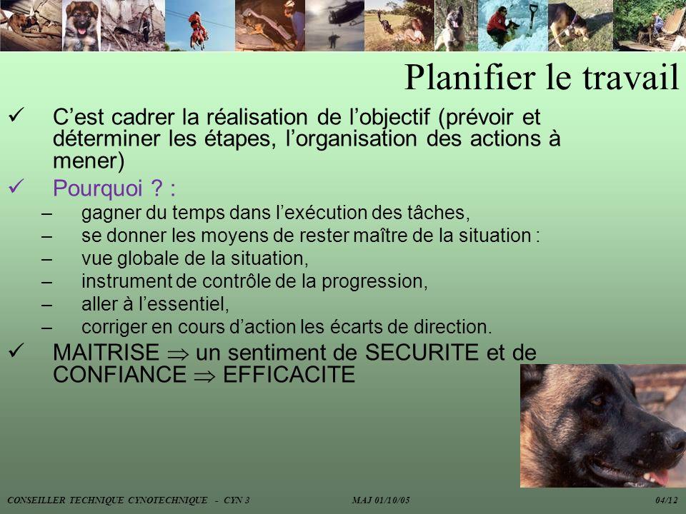 Planifier le travail C'est cadrer la réalisation de l'objectif (prévoir et déterminer les étapes, l'organisation des actions à mener)