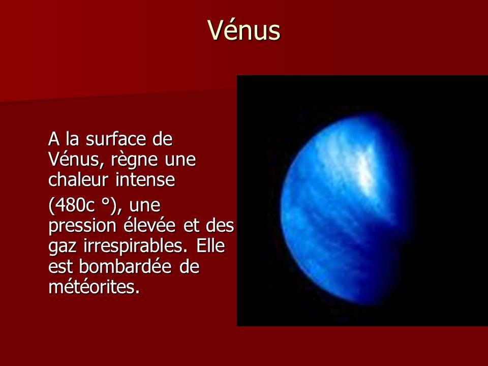 Vénus A la surface de Vénus, règne une chaleur intense