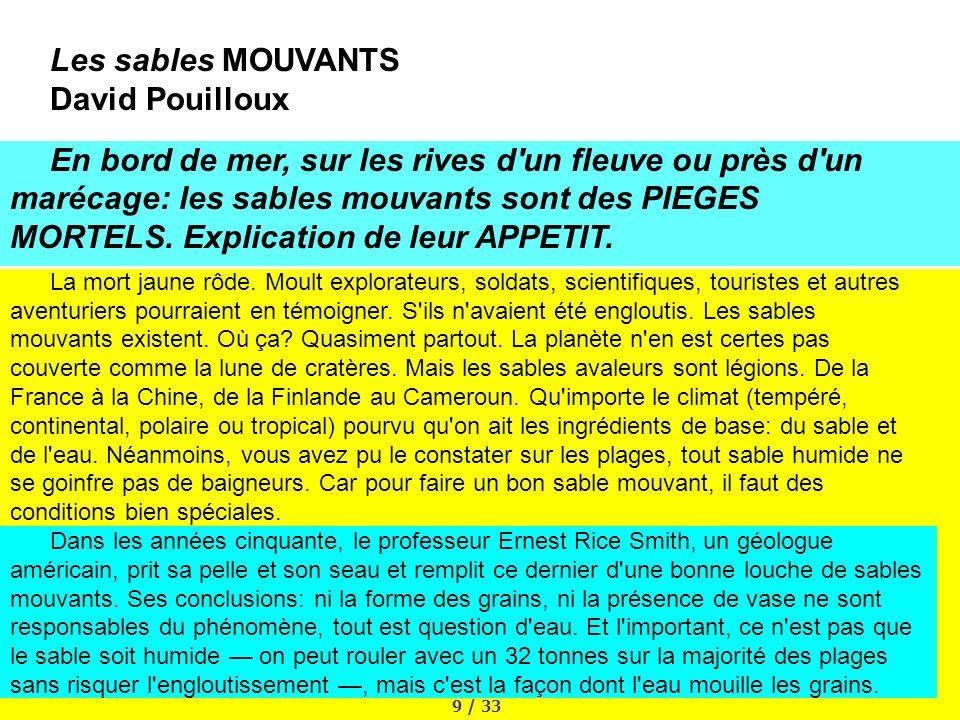 Les sables MOUVANTS David Pouilloux