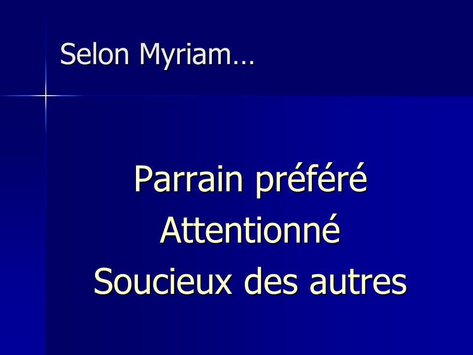 Selon Myriam… Parrain préféré Attentionné Soucieux des autres