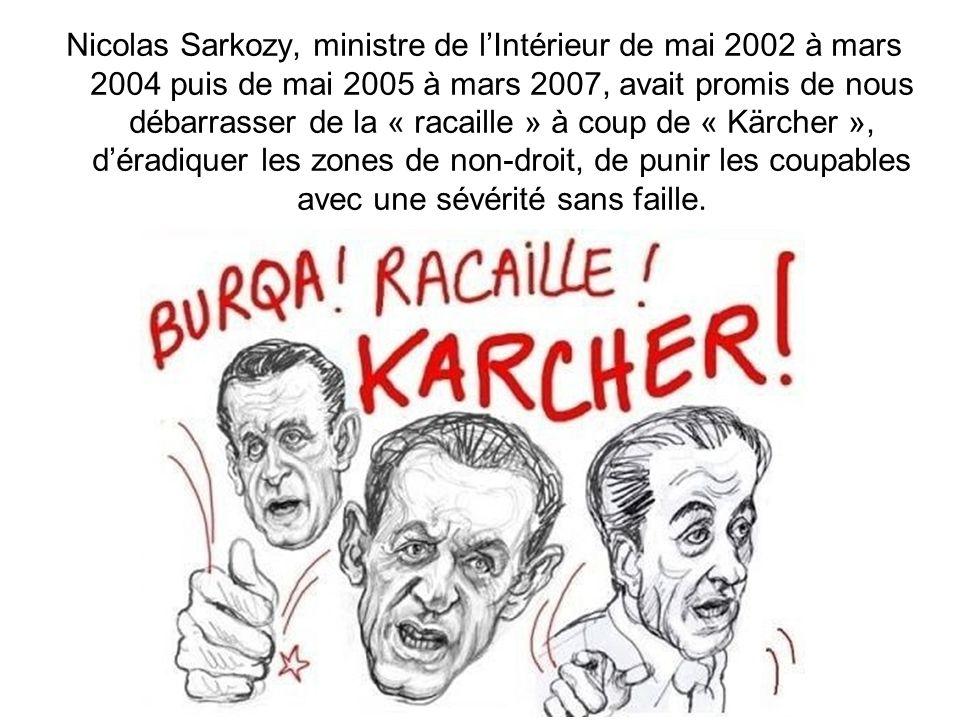 Nicolas Sarkozy, ministre de l'Intérieur de mai 2002 à mars 2004 puis de mai 2005 à mars 2007, avait promis de nous débarrasser de la « racaille » à coup de « Kärcher », d'éradiquer les zones de non-droit, de punir les coupables avec une sévérité sans faille.
