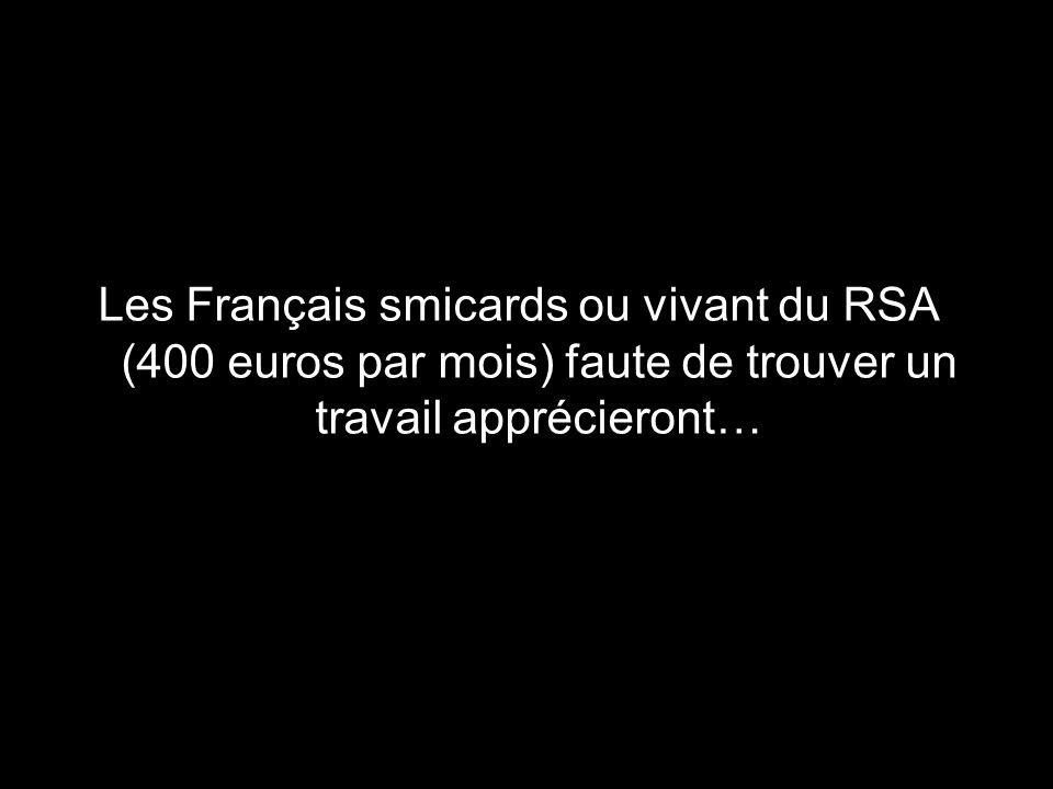 Les Français smicards ou vivant du RSA (400 euros par mois) faute de trouver un travail apprécieront…