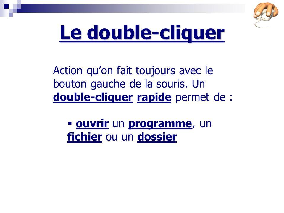 Le double-cliquer Action qu'on fait toujours avec le bouton gauche de la souris. Un double-cliquer rapide permet de :