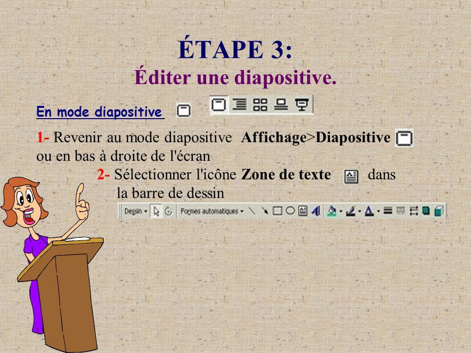 ÉTAPE 3: Éditer une diapositive.