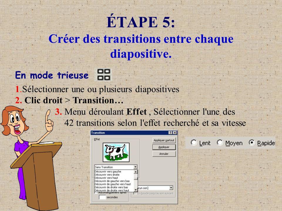 ÉTAPE 5: Créer des transitions entre chaque diapositive.