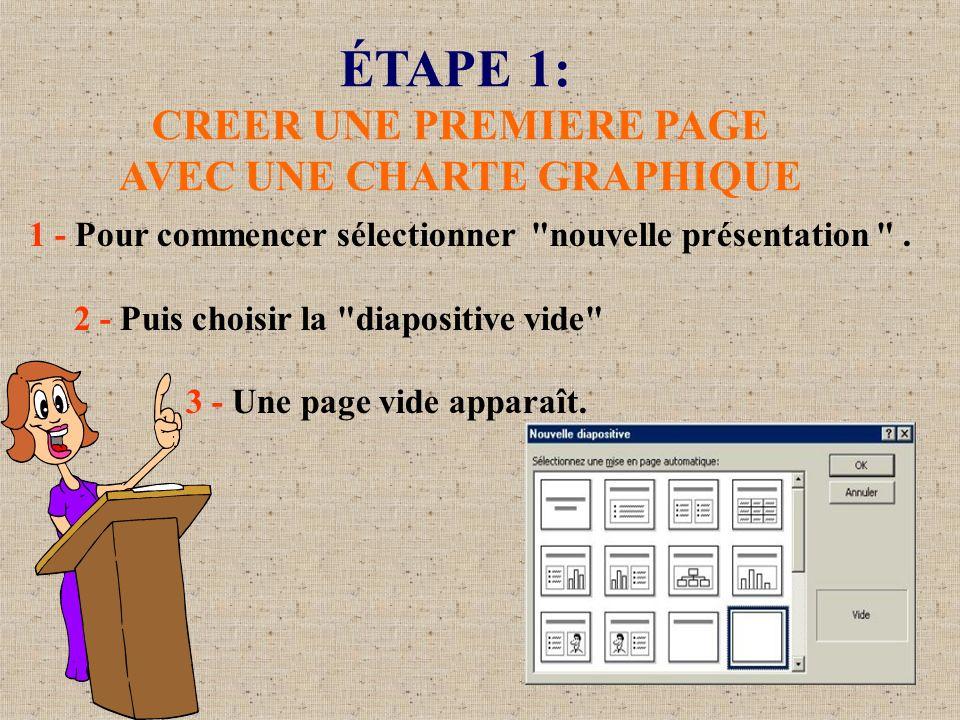 ÉTAPE 1: CREER UNE PREMIERE PAGE AVEC UNE CHARTE GRAPHIQUE