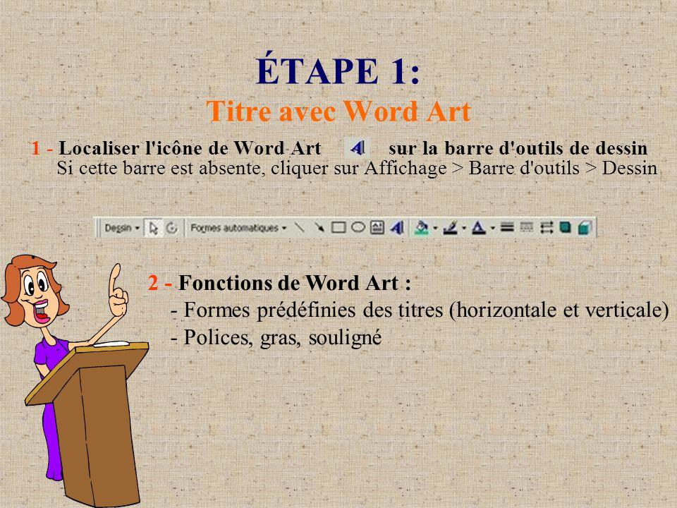 ÉTAPE 1: Titre avec Word Art