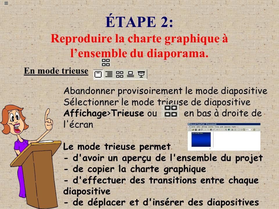 ÉTAPE 2: Reproduire la charte graphique à l'ensemble du diaporama.