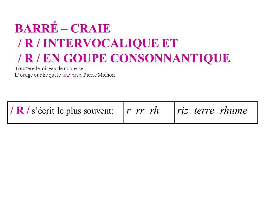 BARRÉ – CRAIE / R / INTERVOCALIQUE ET / R / EN GOUPE CONSONNANTIQUE Tourterelle, oiseau de noblesse, L'orage oublie qui le traverse. Pierre Michon